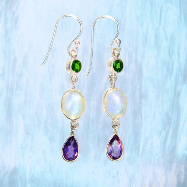 Chrome Diopside, Rainbow Moonstone & Amethyst Earrings
