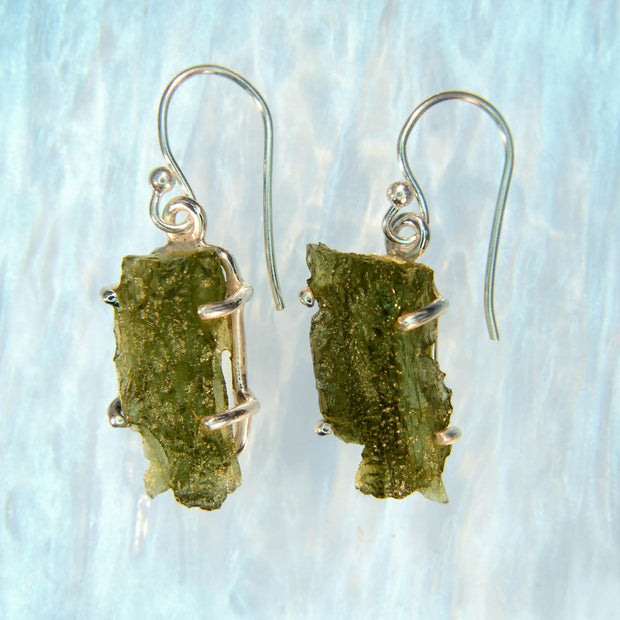Raw Moldavite Claw Set Earrings