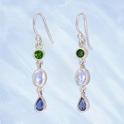 Chrome Diopside, Moonstone & Kyanite Earrings