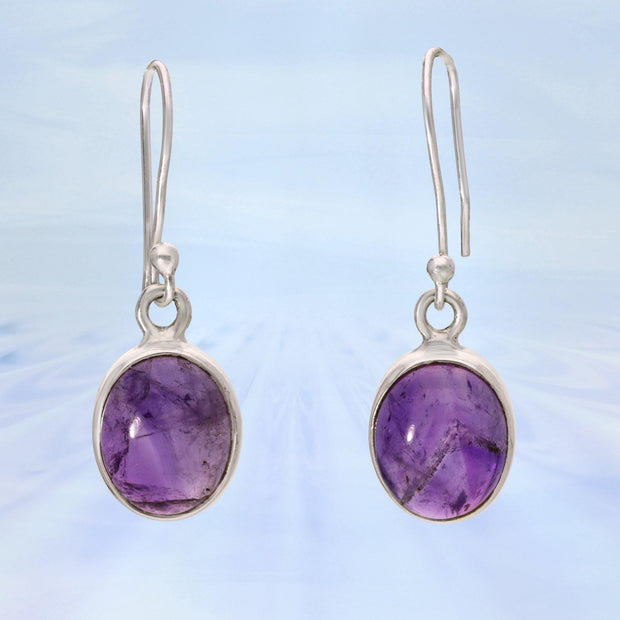 African Amethyst Cabochon Silver Earrings