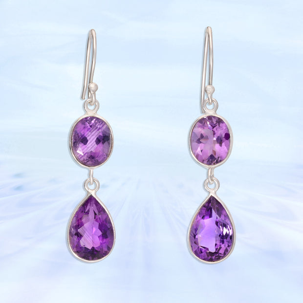 Faceted African Amethyst Earrings