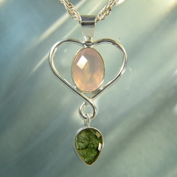 Faceted Rose Quartz & Moldavite Handcrafted Pendant