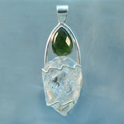 Herkimer Diamond & Faceted Moldavite Silver Pendant