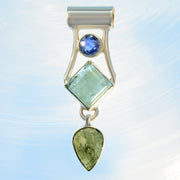 Faceted Kyanite, Aquamarine & Moldavite Gemstone Pendant