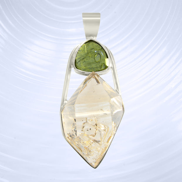 Faceted Genuine Moldavite & Himalayan Crystal Pendant