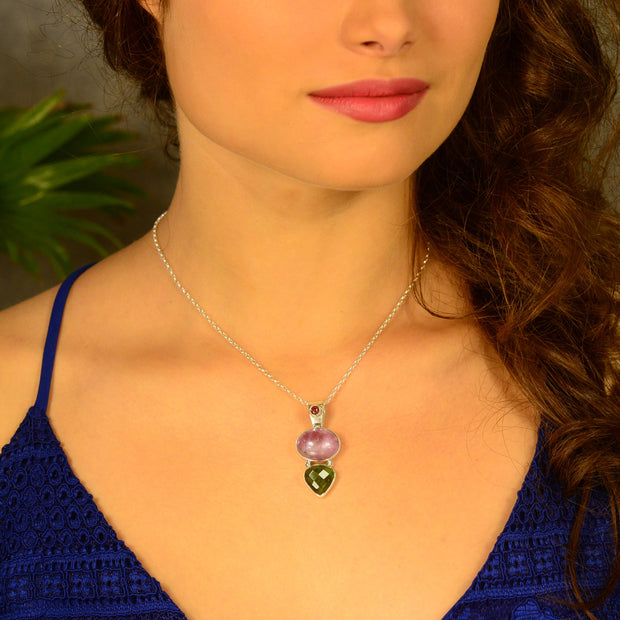 Tourmaline, Amethyst & Genuine Faceted Moldavite Pendant