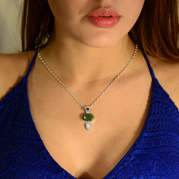 Kyanite, Faceted Moldavite & Rainbow Moonstone Pendant