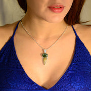 Faceted Moldavite & Golden Rutile Gemstone Jewelry