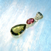 Faceted Rubellite & Moldavite Gemstone Pendant