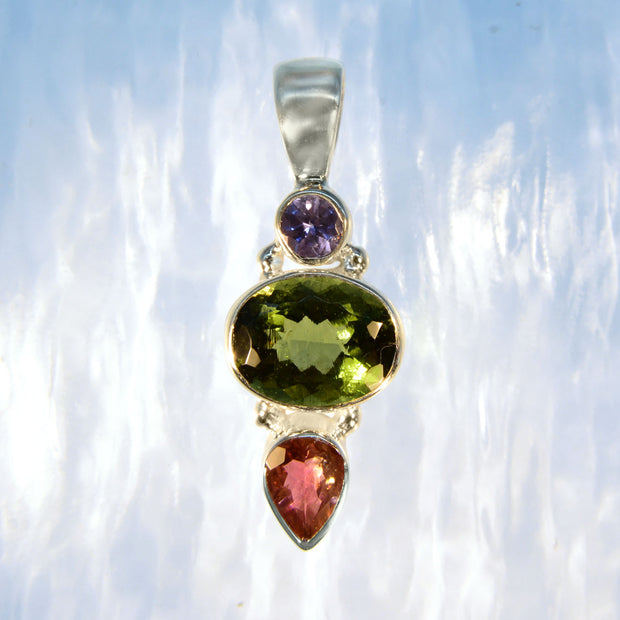 Faceted Tanzanite, Moldavite & Pink Tourmaline Pendant