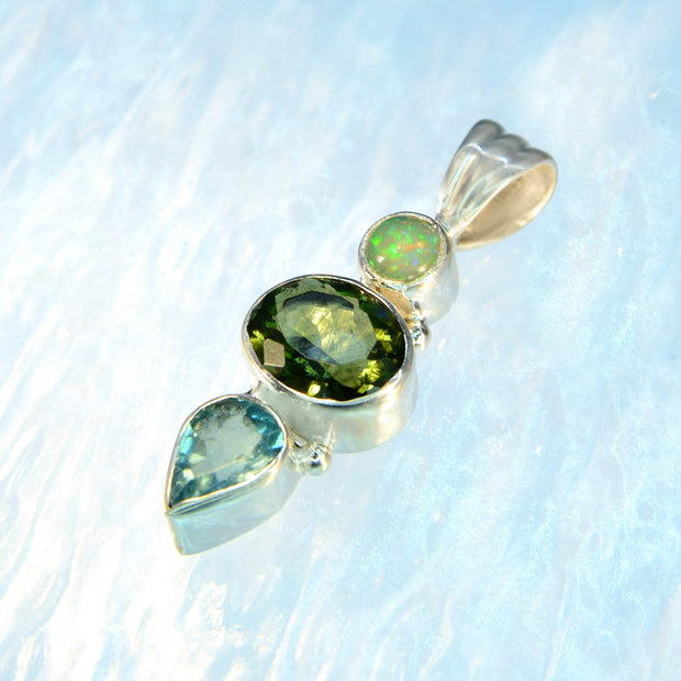 Ethiopian Opal, Faceted Moldavite & Aquamarine Gem Pendant - Arkadia Designs