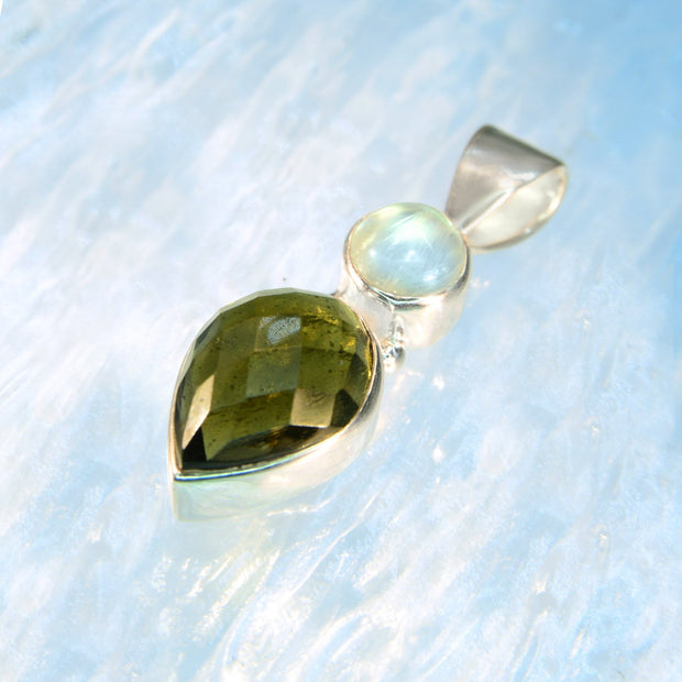 Luminous Blue Moonstone & Genuine Moldavite Facet - Arkadia Designs