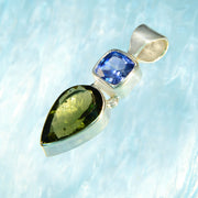 Incredible Blue Kyanite & Faceted Genuine Moldavite Pendant