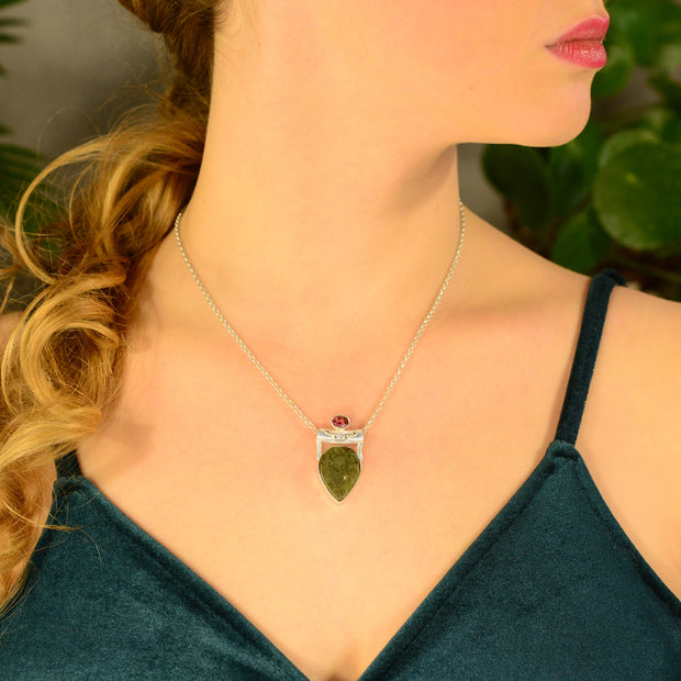 Rubellite Tourmaline & Shaped Moldavite Necklace