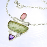 Pink Tourmaline, Moldavite & Amethyst Gemstone Necklace