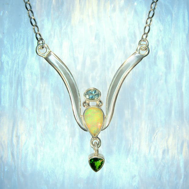 Faceted Aquamarine, Opal & Chrome Diopside Silver Necklace