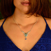 Faceted Chrome Diopside, Aquamarine & Kyanite Artisan Silver Necklace