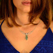 Ethiopian Opal & Aquaprase Chalcedony Celtic Trinity Necklace - Arkadia Designs