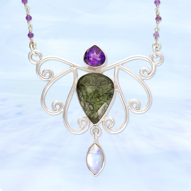 Incredible Amethyst, Moldavite & Moonstone Necklace