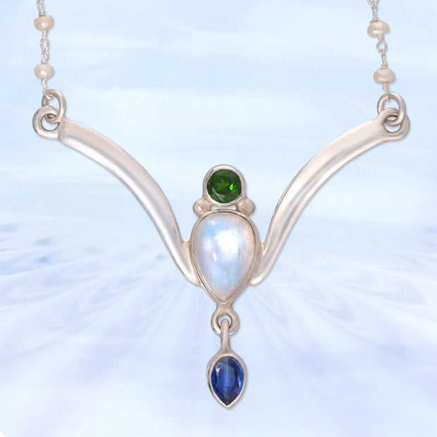 Green Tourmaline, Moonstone & Kyanite Necklace
