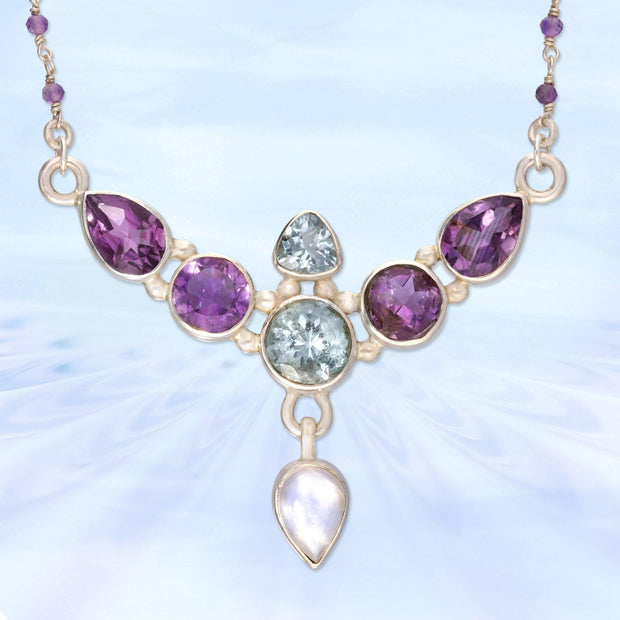 Angelic Aquamarine, Amethyst & Moonstone Necklace