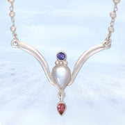 Rare Tanzanite, Moonstone & Pink Tourmaline Necklace