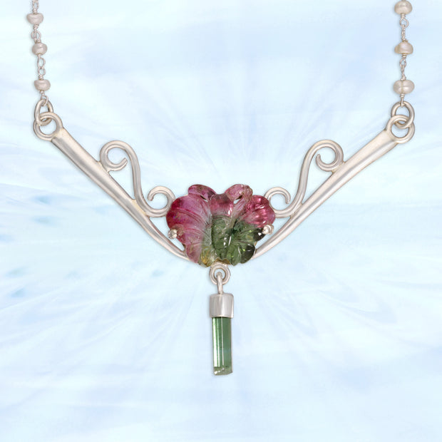 Carved Watermelon Tourmaline Butterfly Necklace