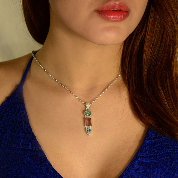 Carved Aquamarine, Rubellite Tourmaline Crystal & Aquamarine Facet pendant