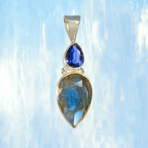 Faceted Kyanite & Blue Labradorite Gem Pendant
