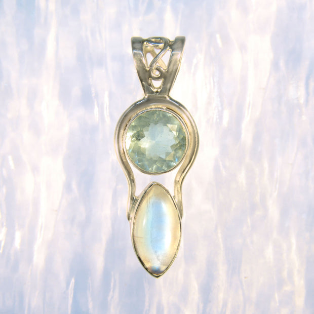 Faceted Aquamarine & Rainbow Moonstone Gem Pendant