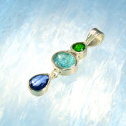 Faceted Chrome Diopside, Blue Apatite & Kyanite Gemstone Pendant