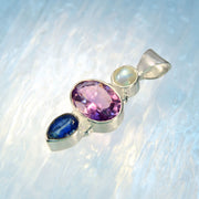 Rainbow Moonstone, Amethyst & Kyanite Gemstone Pendant