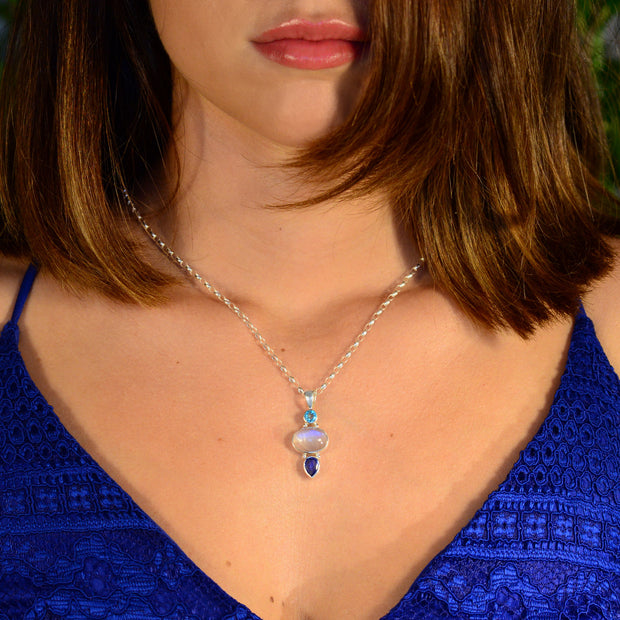 Rare Faceted Blue Apatite, Moonstone & Kyanite Silver Pendant