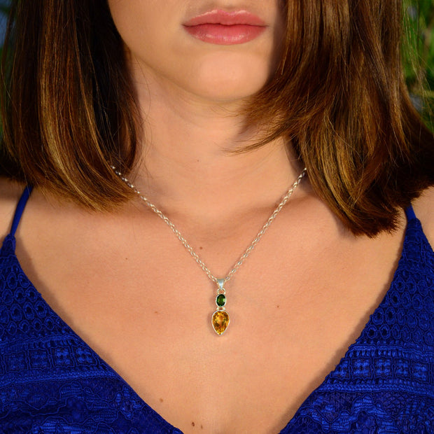 Bright Chrome Diopside & Citrine Gemstone Pendant - Arkadia Designs