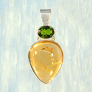 Bright Citrine & Chrome Diopside Gem Pendant