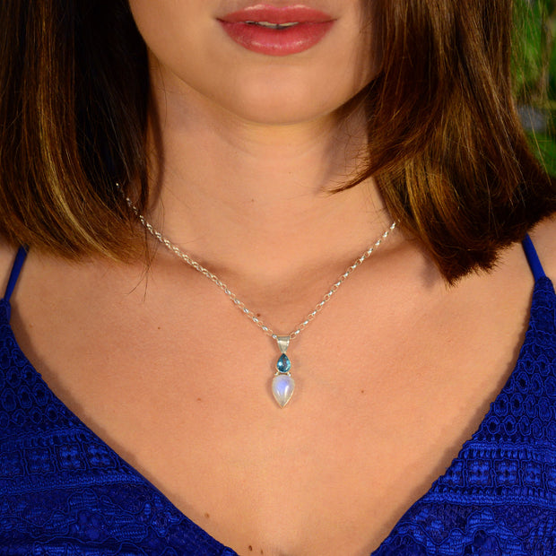 Faceted Apatite & Moonstone Pendant