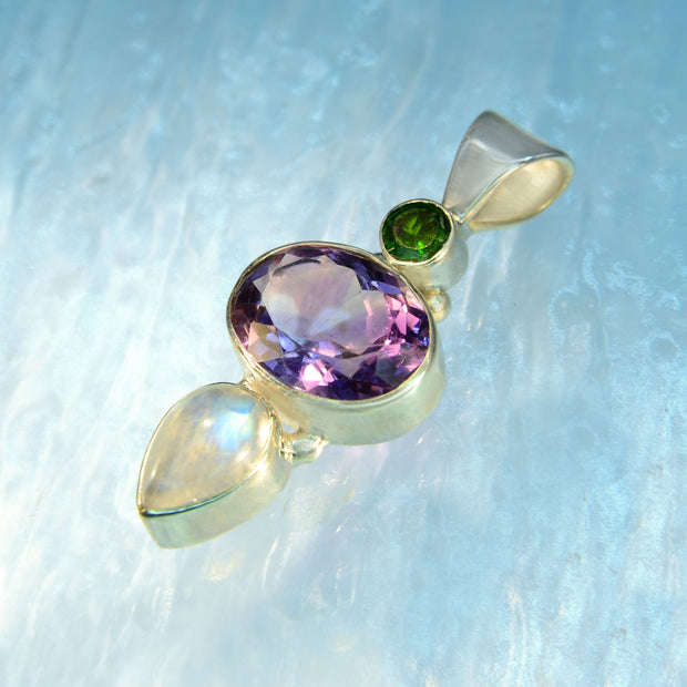 Chrome Diopside, Amethyst & Moonstone Silver Pendant