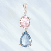 Faceted Morganite & Aquamarine Gem Necklace