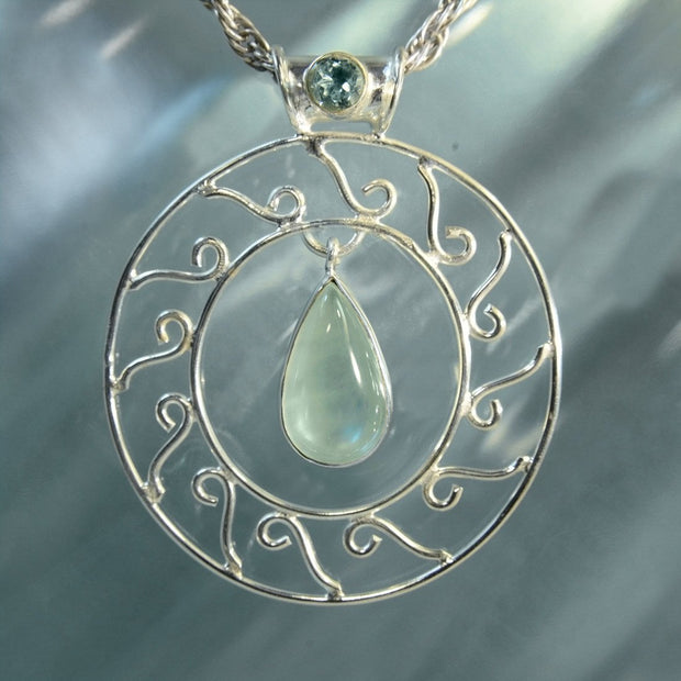Aquamarine Silver Filigree Handmade Necklace