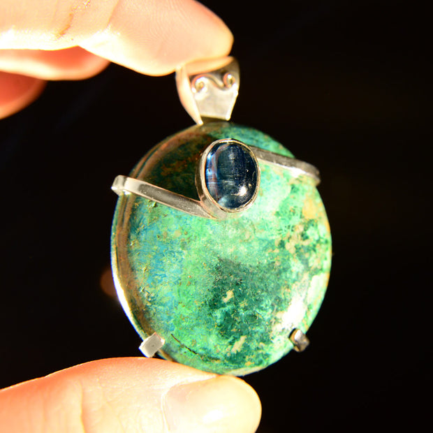 Green Kyanite & Chrysocolla Pendant