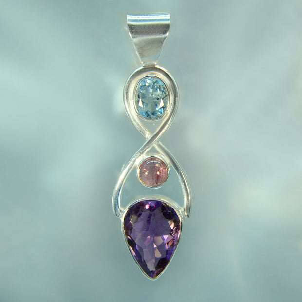 Faceted Aquamarine, Pink Tourmaline & Amethyst Infinity Pendant