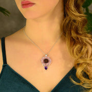 Amethyst Crystal Slice & Facet Gemstone Pendant - Arkadia Designs