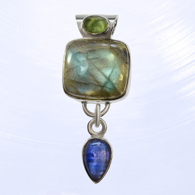 Green Tourmaline, Labradorite & Kyanite Mystical Pendant
