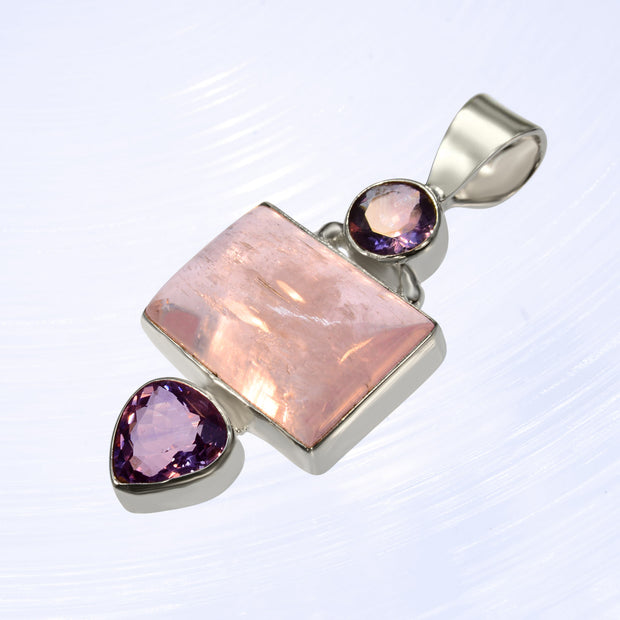 Faceted Amethyst & Large Kunzite Crystal Pendant