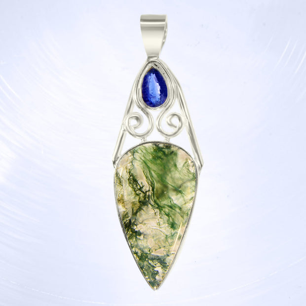 Amazing Faceted Blue Kyanite & Moss Agate Silver Pendant