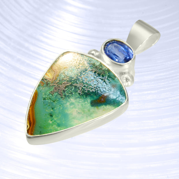 Incredible Blue Kyanite & Gem Silica Silver Pendant