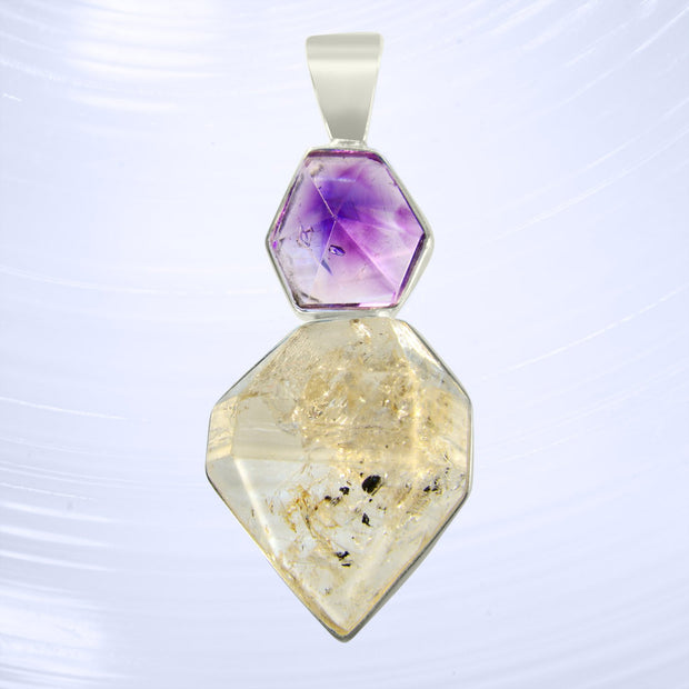 Amethyst Crystal Point & Herkimer Diamond Pendant