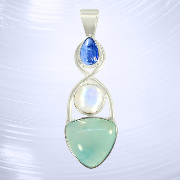 Beautiful Blue Kyanite, Rainbow Moonstone & Aquaprase Pendant
