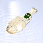 Green Tourmaline & Herkimer Diamond Crystal Pendant