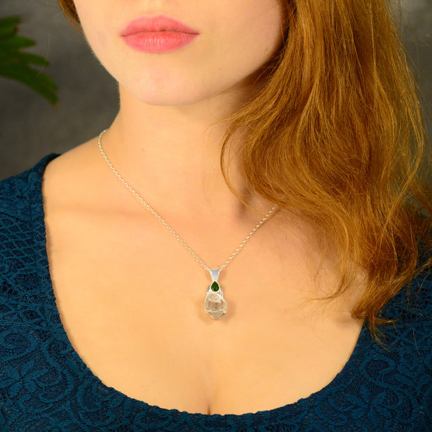 Faceted Chrome Diopside & Herkimer Diamond Pendant